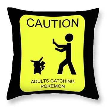 Throw Pillow featuring the digital art Adults Catching Pokemon 1 by Shane Bechler