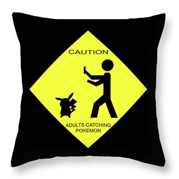 Throw Pillow featuring the digital art Adults Catching Pokemon 2 by Shane Bechler