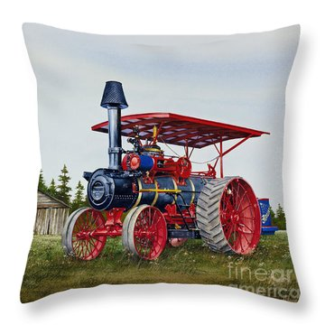 Throw Pillow featuring the painting Advance Rumely Steam Traction Engine by James Williamson