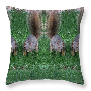 Advancing Army Of Squirrels Throw Pillow