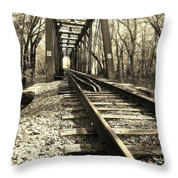 Adventure Along The Rails - Sepia Throw Pillow
