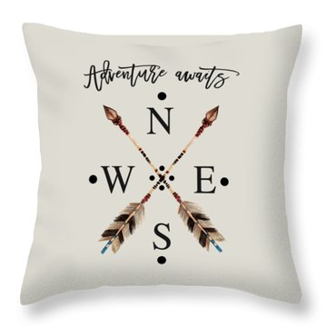 Throw Pillow featuring the digital art Adventure Waits Typography Arrows Compass Cardinal Directions by Georgeta Blanaru