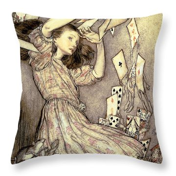 Adventures In Wonderland Throw Pillow by Arthur Rackham