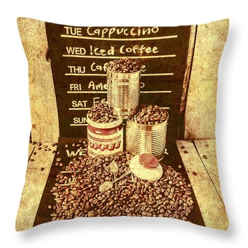 Adverts From The Old Coffee Mill Throw Pillow