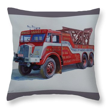 Throw Pillow featuring the painting Aec Militant Dennis's. by Mike Jeffries