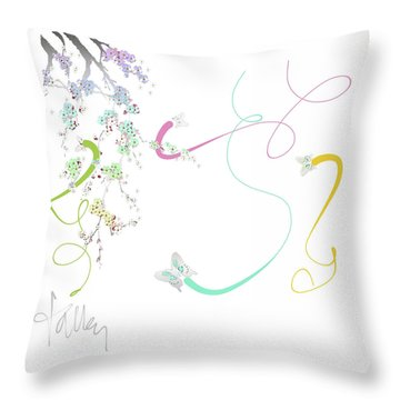 Throw Pillow featuring the mixed media Spring Fervor by Larry Talley