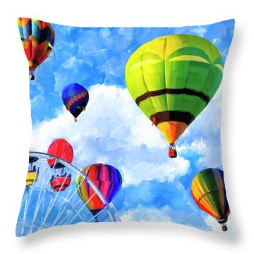 Throw Pillow featuring the mixed media Aerial Birth by Mark Tisdale