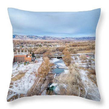 aerial cityscape of Fort Collins Throw Pillow