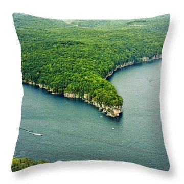 Aerial Image Of  Long Point Cliff Throw Pillow by Mark Allen