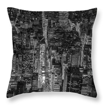 Aerial New York City 42nd Street Bw Throw Pillow by Susan Candelario