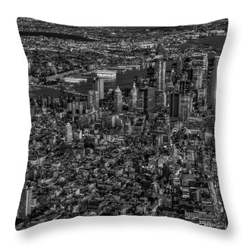 Aerial New York City Sunset Bw Bw Throw Pillow by Susan Candelario