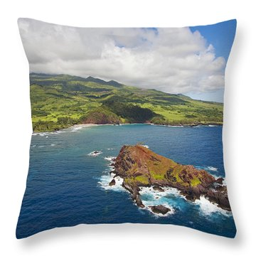 Aerial Of Alau Islet Throw Pillow by Ron Dahlquist - Printscapes