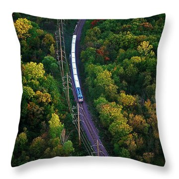 Aerial Of  Commuter Train  Throw Pillow