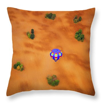 Aerial Of Hot Air Balloon Above Tilled Field Fall Throw Pillow