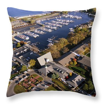 Aerial Of The Abbey Resort And Harbor - Fontana Wisconsin Throw Pillow