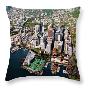 Aerial Panorama - Downtown - City Of Honolulu, Oahu, Hawaii  Throw Pillow