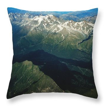 Aerial Photograph Of The Swiss Alps Throw Pillow