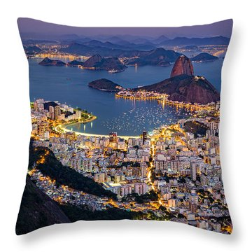 Throw Pillow featuring the photograph Aerial Rio by Mihai Andritoiu