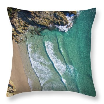 Aerial Shot Of Honeymoon Bay On Moreton Island Throw Pillow
