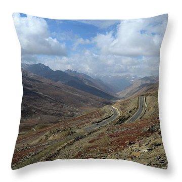Aerial Shot Of Mountainous Karakoram Highway Babusar Pass Pakistan Throw Pillow