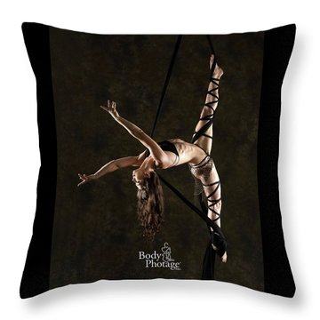 Aerial Splits With Black Silks Throw Pillow