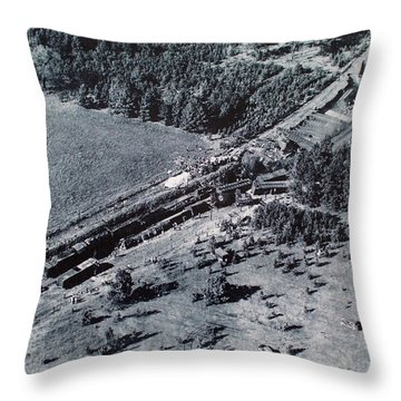 Aerial Train Wreck Throw Pillow