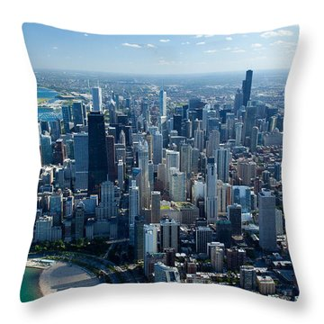 Aerial View Of A City, Lake Michigan Throw Pillow