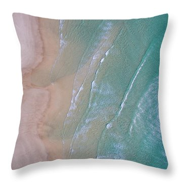 Aerial View Of Beach And Wave Patterns Throw Pillow