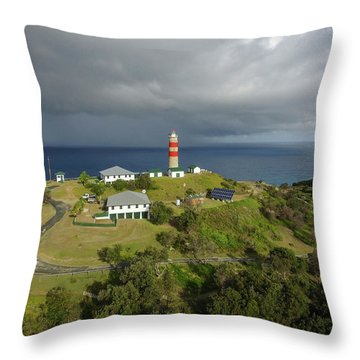 Aerial View Of Cape Moreton Lighthouse Precinct Throw Pillow