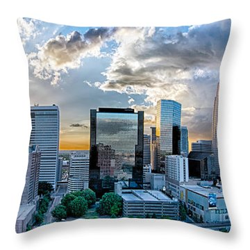 Aerial View Of Charlotte City Skyline At Sunset Throw Pillow by Alex Grichenko