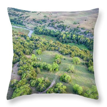aerial view of Dismal River in Nebraska Sandhills Throw Pillow