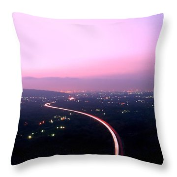 Aerial View Of Highway At Dusk Throw Pillow