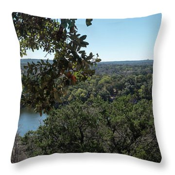 Aerial View Of Large Forest And Lake Throw Pillow