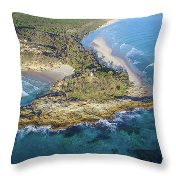 Aerial View Of North Point, Moreton Island Throw Pillow
