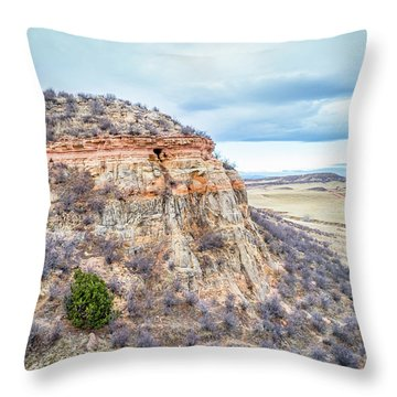 aerial view of northern Colorado foothills  Throw Pillow