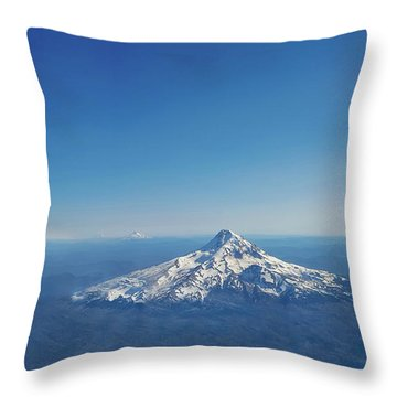 Aerial View Of Snowy Mountain Throw Pillow