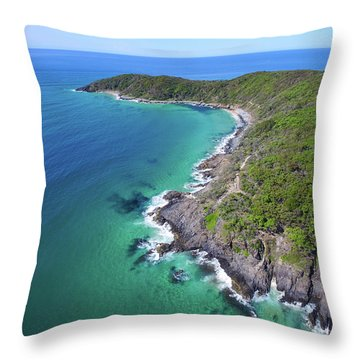Throw Pillow featuring the photograph Aerial View Of The Coastline In Noosa National Park by Keiran Lusk