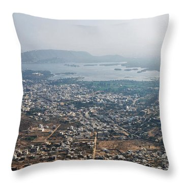 Throw Pillow featuring the photograph Aeriel View Of Udaipur From Monsoon Palace by Yew Kwang