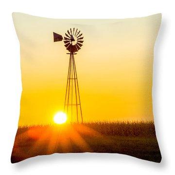 Aermotor Sunset Throw Pillow by Chris Bordeleau