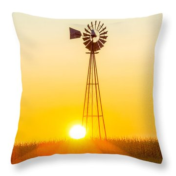 Throw Pillow featuring the photograph Aermotor Sunset Vertical by Chris Bordeleau