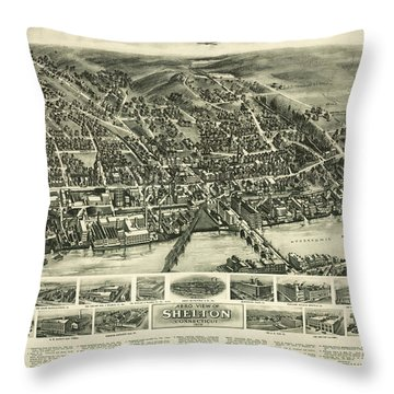 Aero View Of Watertown, Connecticut  Throw Pillow