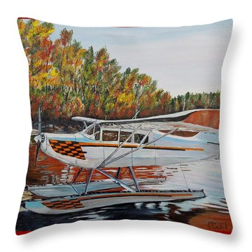 Throw Pillow featuring the painting Aeronca Super Chief 0290 by Marilyn  McNish