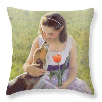 Throw Pillow featuring the painting Affection by Nancy Lee Moran