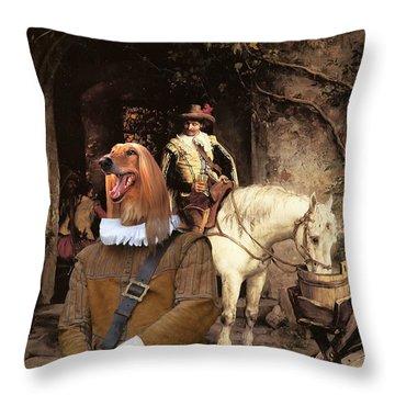 Afghan Hound-at The Tavern Canvas Fine Art Print Throw Pillow