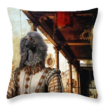 Afghan Hound-capriccio Of Colonade And The Courtyard Of A Palace Canvas Fine Art Print Throw Pillow