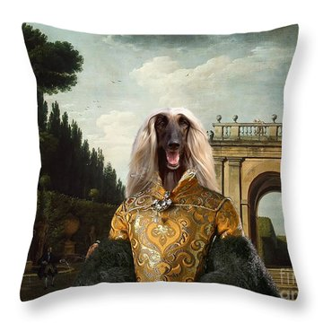 Afghan Hound-the Afternoon Promenade In Rome  Canvas Fine Art Print Throw Pillow