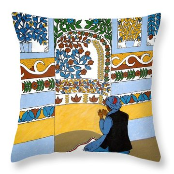 Throw Pillow featuring the painting Afghan Mosque by Stephanie Moore