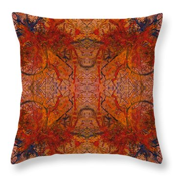 Aflame With Flower Quad Hotwaxed Version Of Acrylic/watercolour Throw Pillow