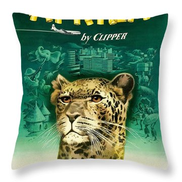 Africa Cheetah Pan American  Vintage Airline Travel Poster Throw Pillow