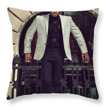 African American Businessman Working In New York Throw Pillow